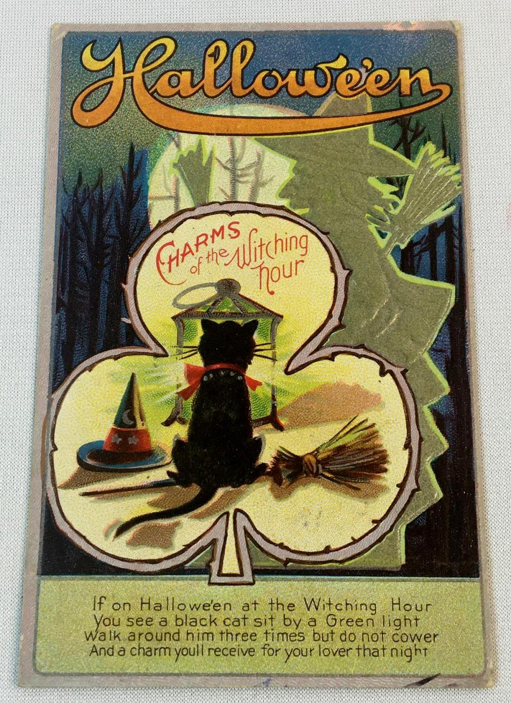 """Antique 1911 Halloween """"Charms of The Witching Hour"""" Postcard (Black Cat, Green Witch, Broom, Etc..)"""