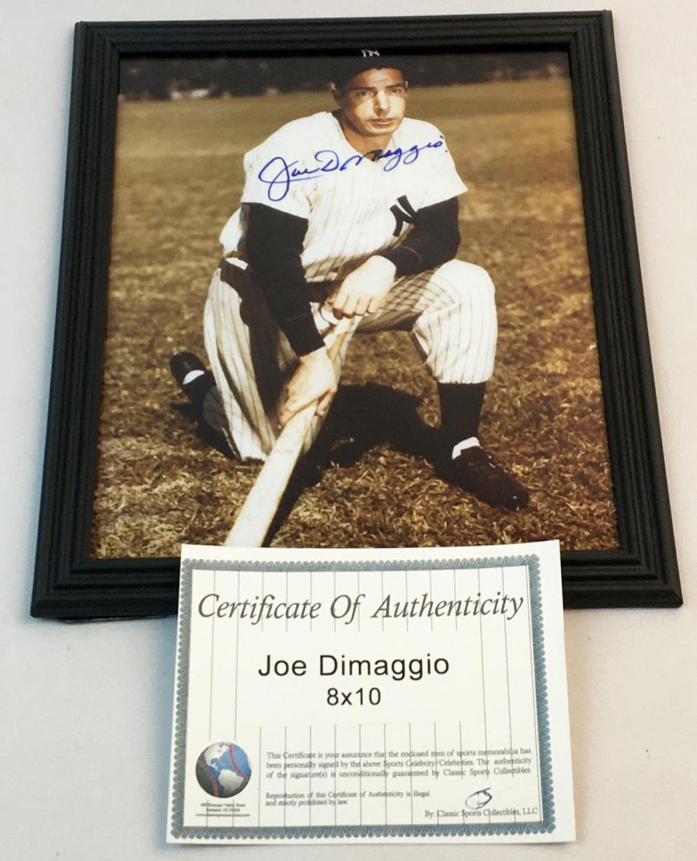 "Signed Joe DiMaggio New York Yankees Color 8"" x 10"" Photo w/ COA Framed"