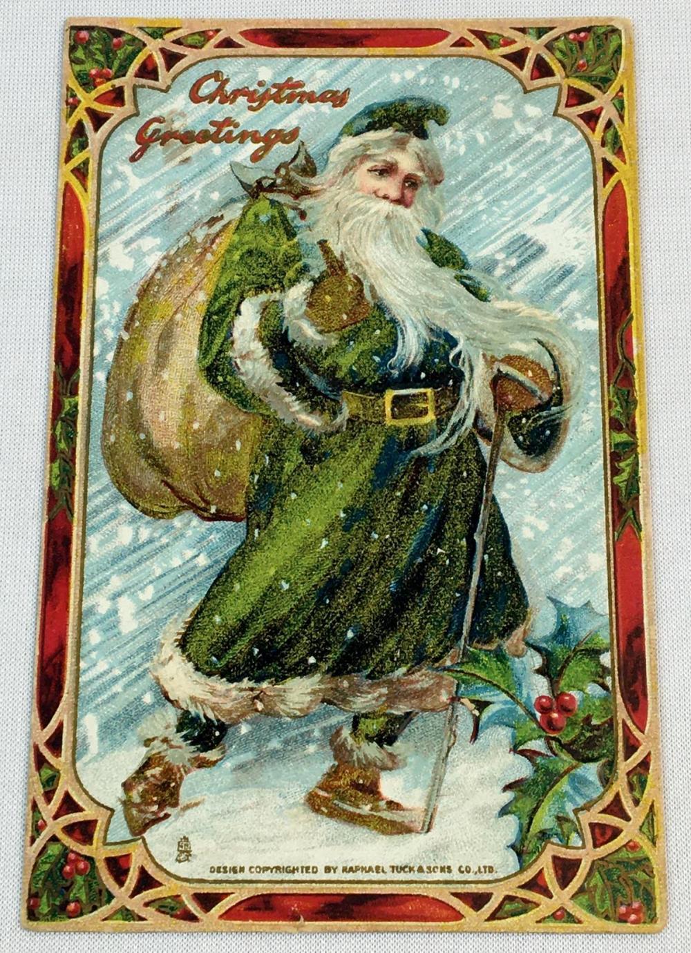 Antique c.1906 Green Suit Santa Claus Raphael Tuck & Sons' Embossed Postcard