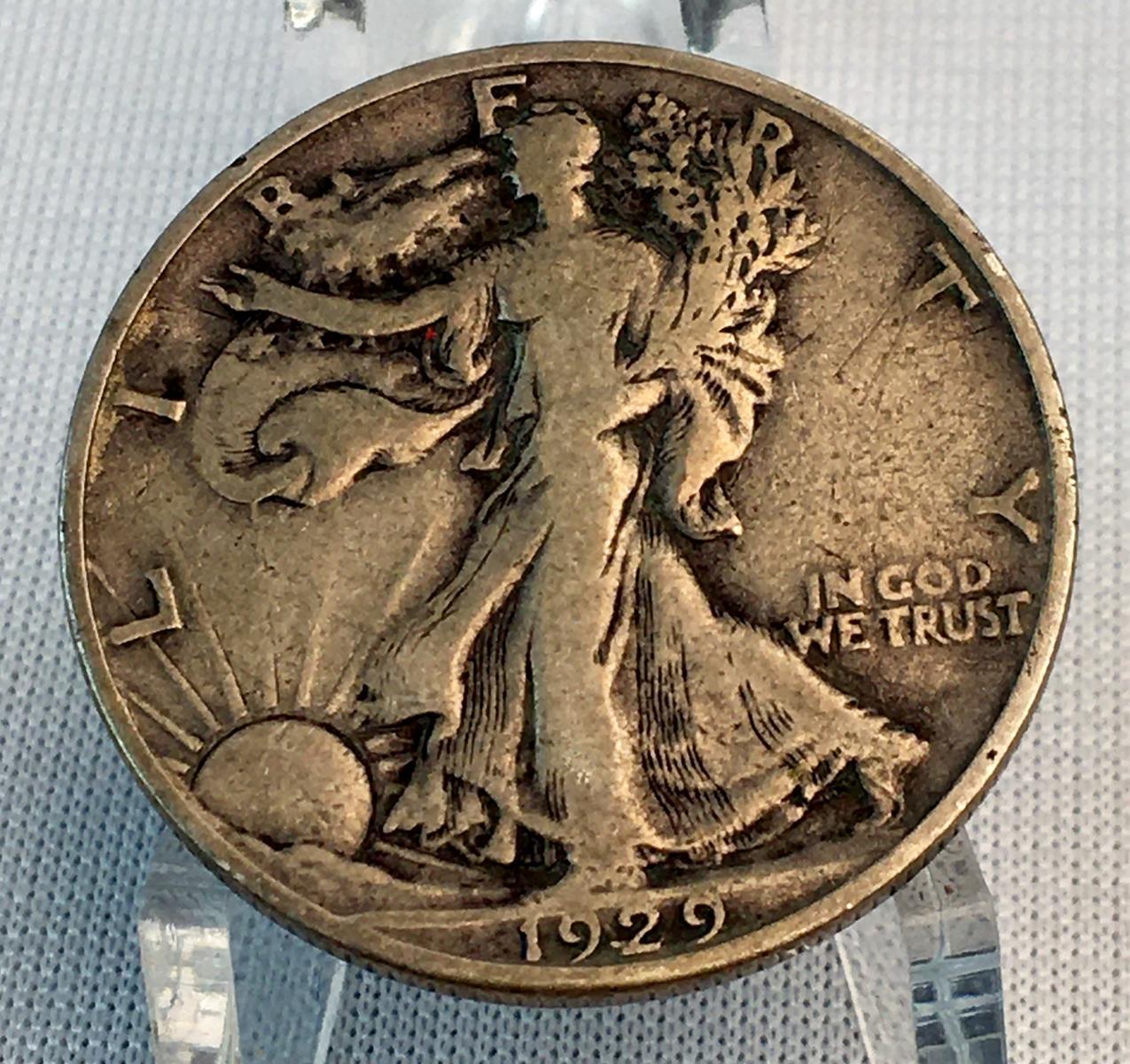 1929-S US 50c Walking Liberty Silver Half Dollar