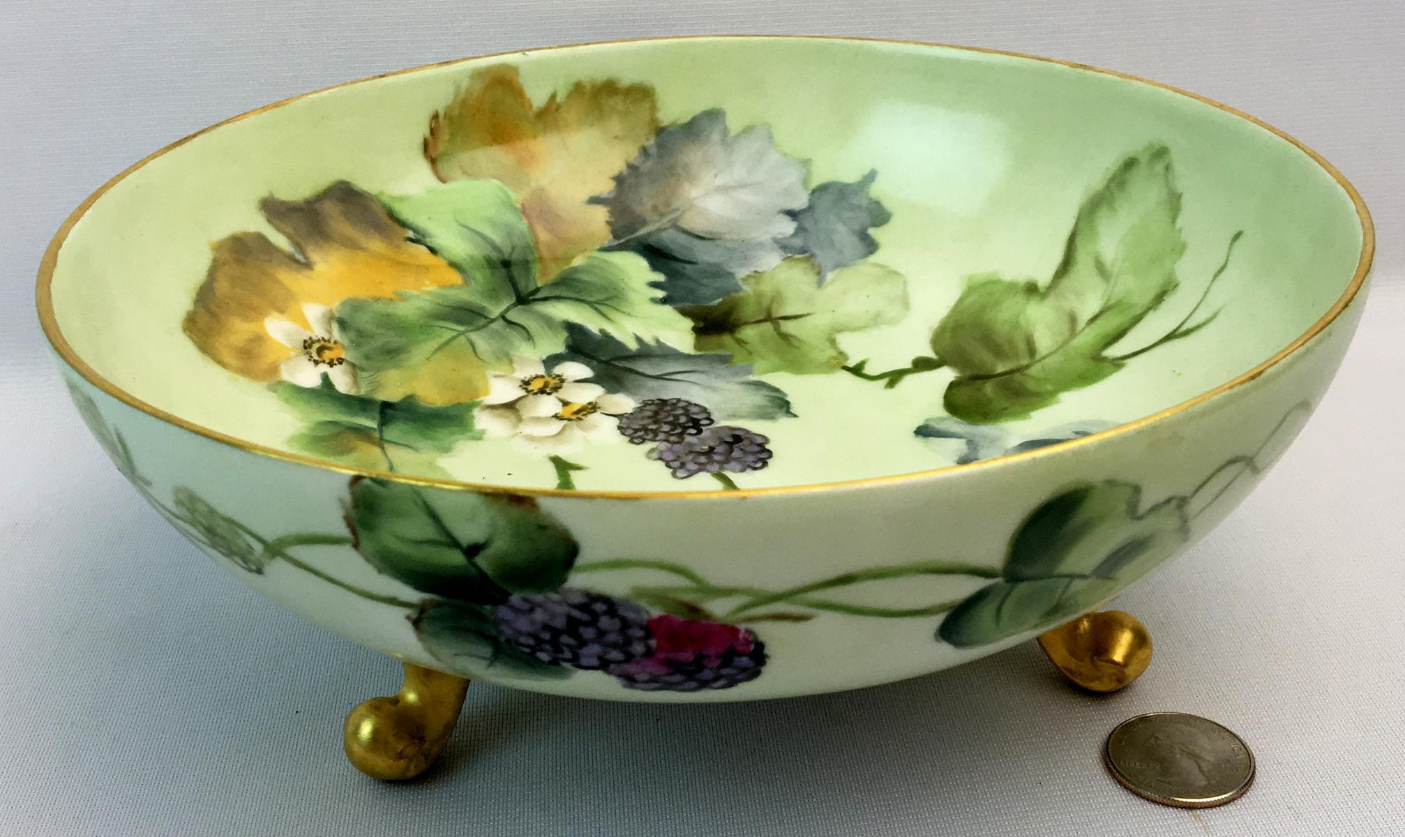 Antique La Seynie P&P Limoges France 3 Footed Hand Painted Bowl