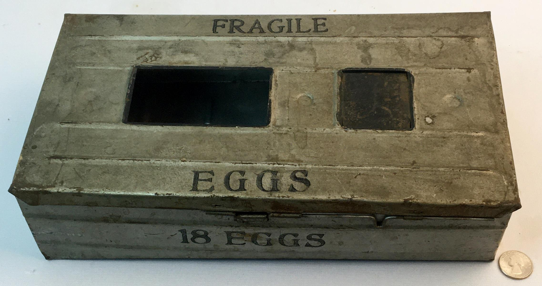 Antique c. 1920 Metal One and Half Dozen Egg Carrier / Mailer Crate