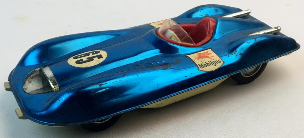 Vintage c. 1960 Mattel Tin Litho Mobilgas #65 Futuristic Friction Race Car WORKS