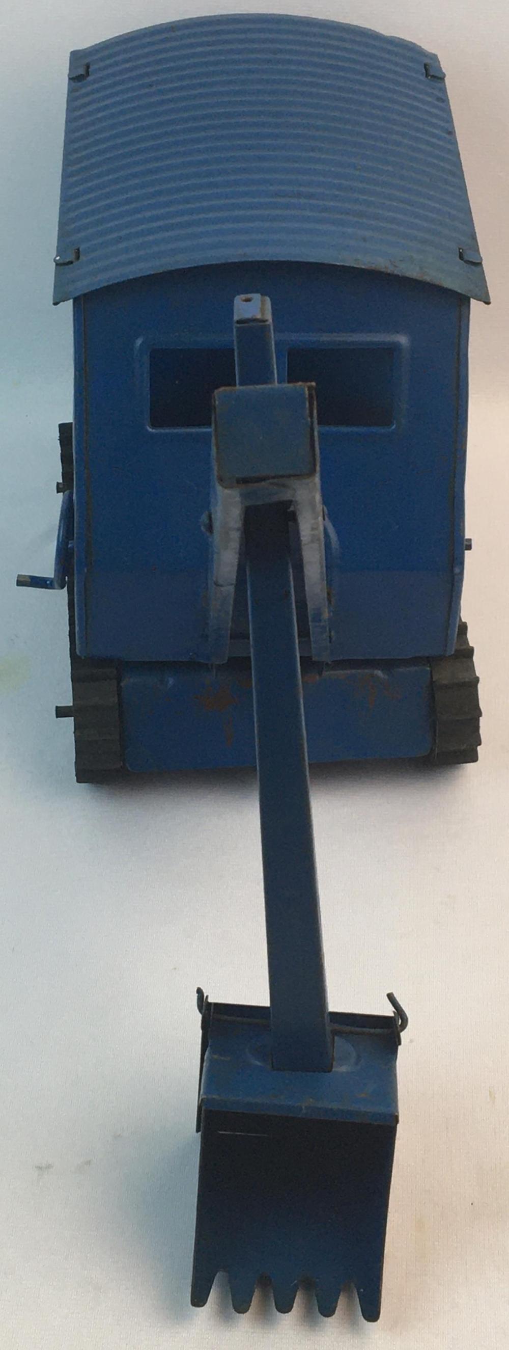 Vintage 1940's Structo Toys Pressed Steel Blue Steam Shovel Crane