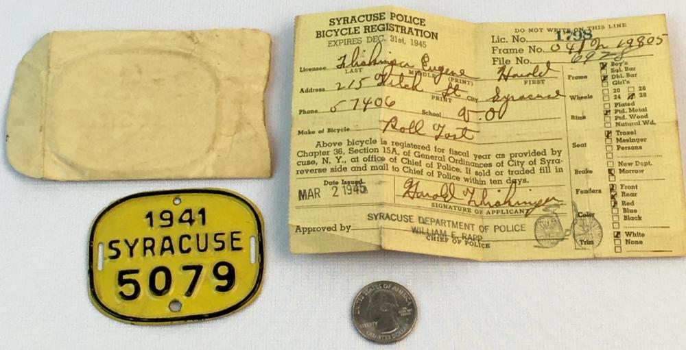 Vintage 1941 Syracuse NY #5079 Bicycle License Plate Tag and 1945 Syracuse Police Bicycle Registration