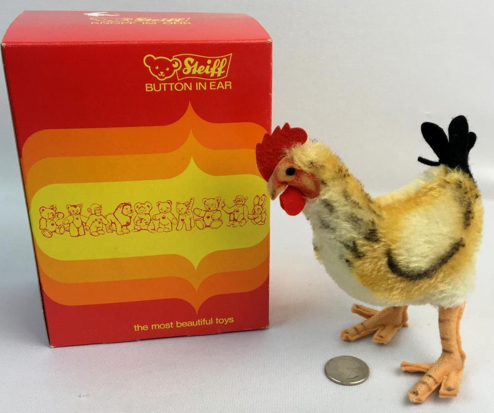 "Vintage c.1960 Steiff Mohair Hen w/ Box 5.5"" Tall"