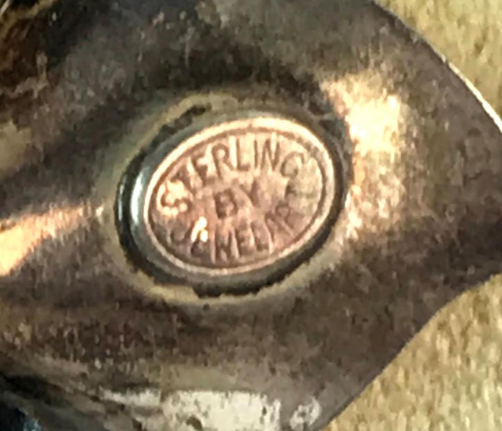 Vintage Signed Sterling by Jewel art Floral Brooch
