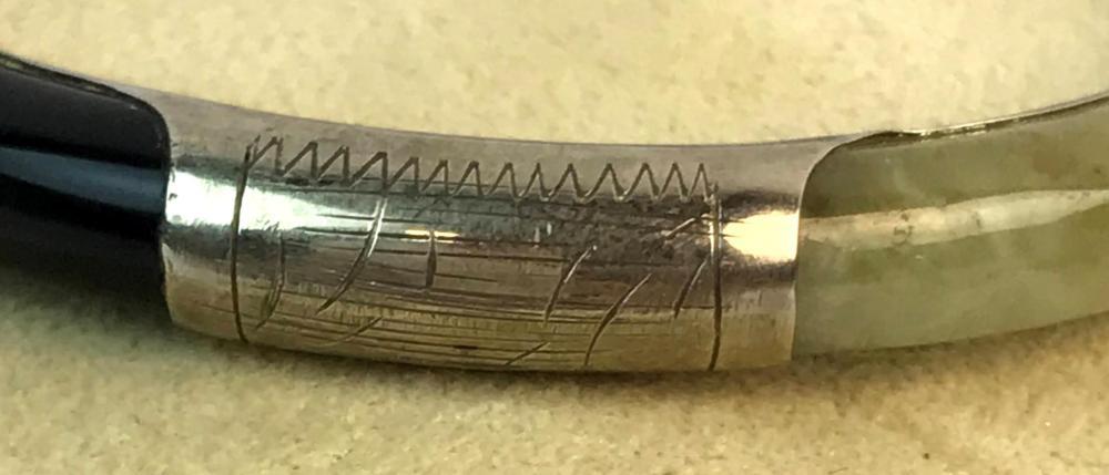 Vintage Sterling Silver, Jade, Onyx, Carnelian Hinged Bangle Bracelet