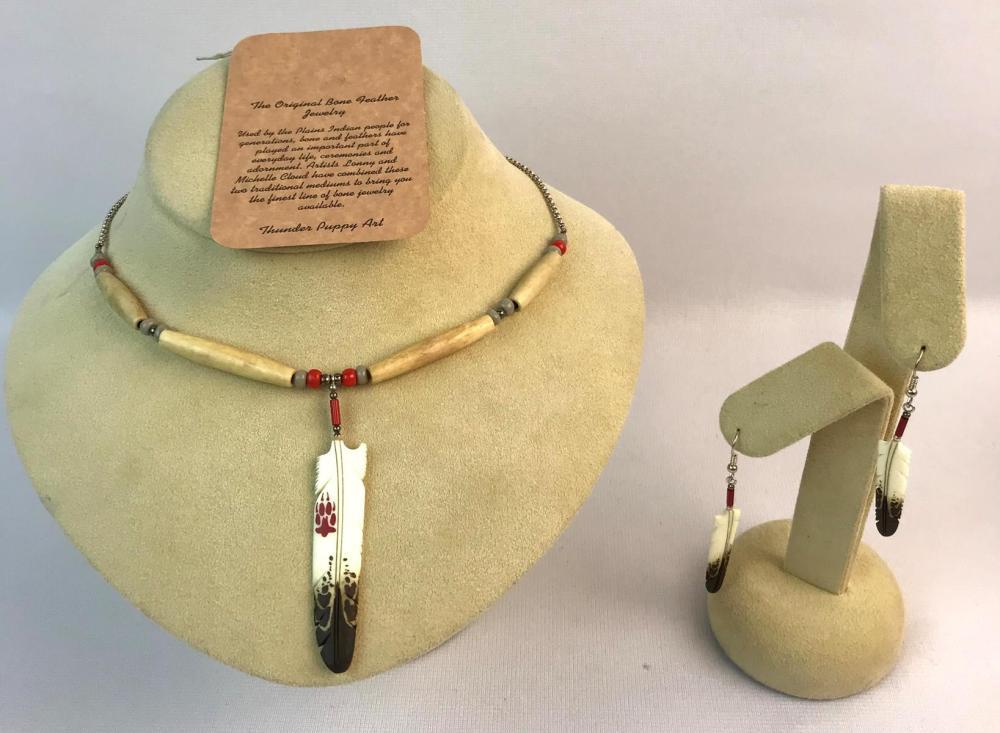 Thunder Puppy Art Bone Feather Necklace & Earring Set