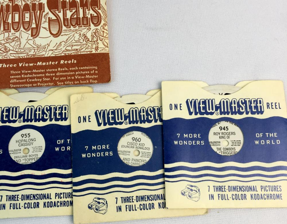 Vintage 1950's Lot of Western View Master Reels (Hopalong Cassidy, Roy Rogers, Cisco Kid, Gene Autry)