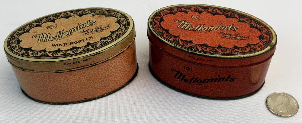 Antique c. 1910 Lot of 2 Mello Mints Ten-Cent Tins Brandle & Smith Co.