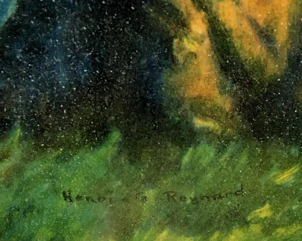 "Antique c. 1920 Henri G. Reynard ""Love's Echo"" Lithograph ORIGINAL FRAMED"
