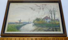 George L. Herdle (American, b.1868, d 1922) Dutch Landscape Watercolor Painting FRAMED