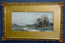 George L. Herdle (American, b.1868, d 1922) Landscape Watercolor Painting FRAMED
