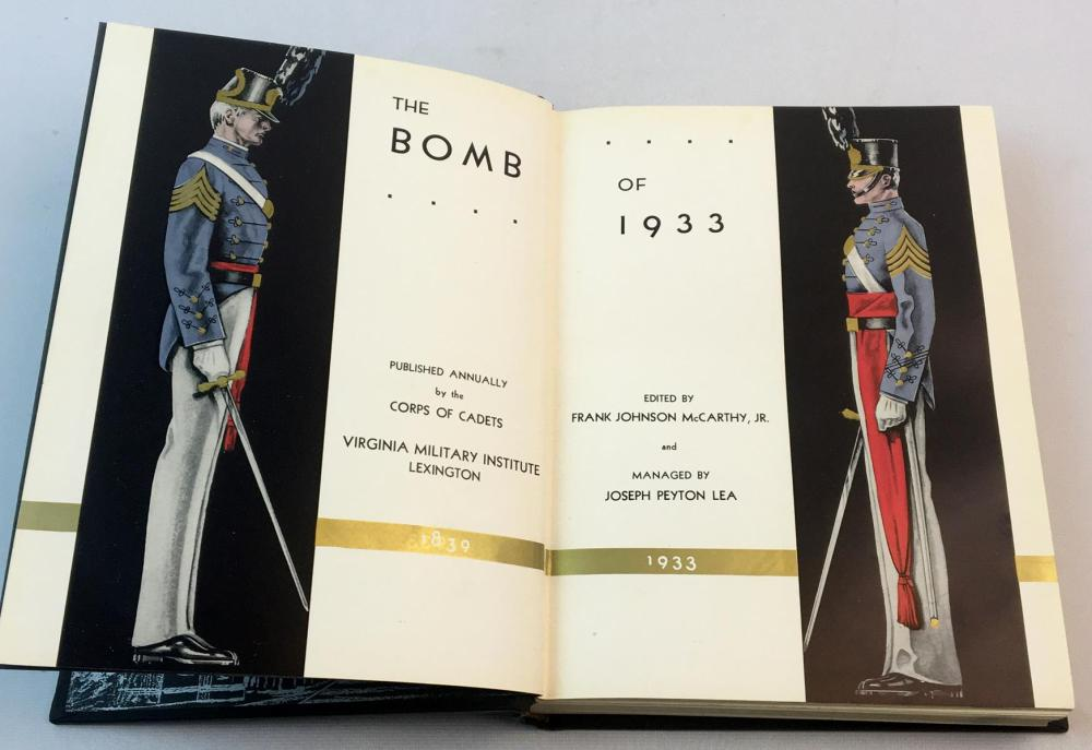 The Bomb of 1933 (Virginia Military Institute) Edited Frank Johnson McCarthy, Jr. FIRST EDITION