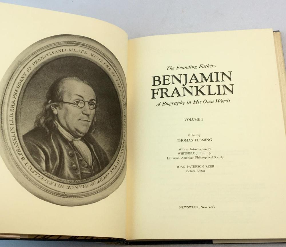 1972 The Founding Fathers: Benjamin Franklin A Biography in His Own Words Volume 1 w/ Dust Jacket