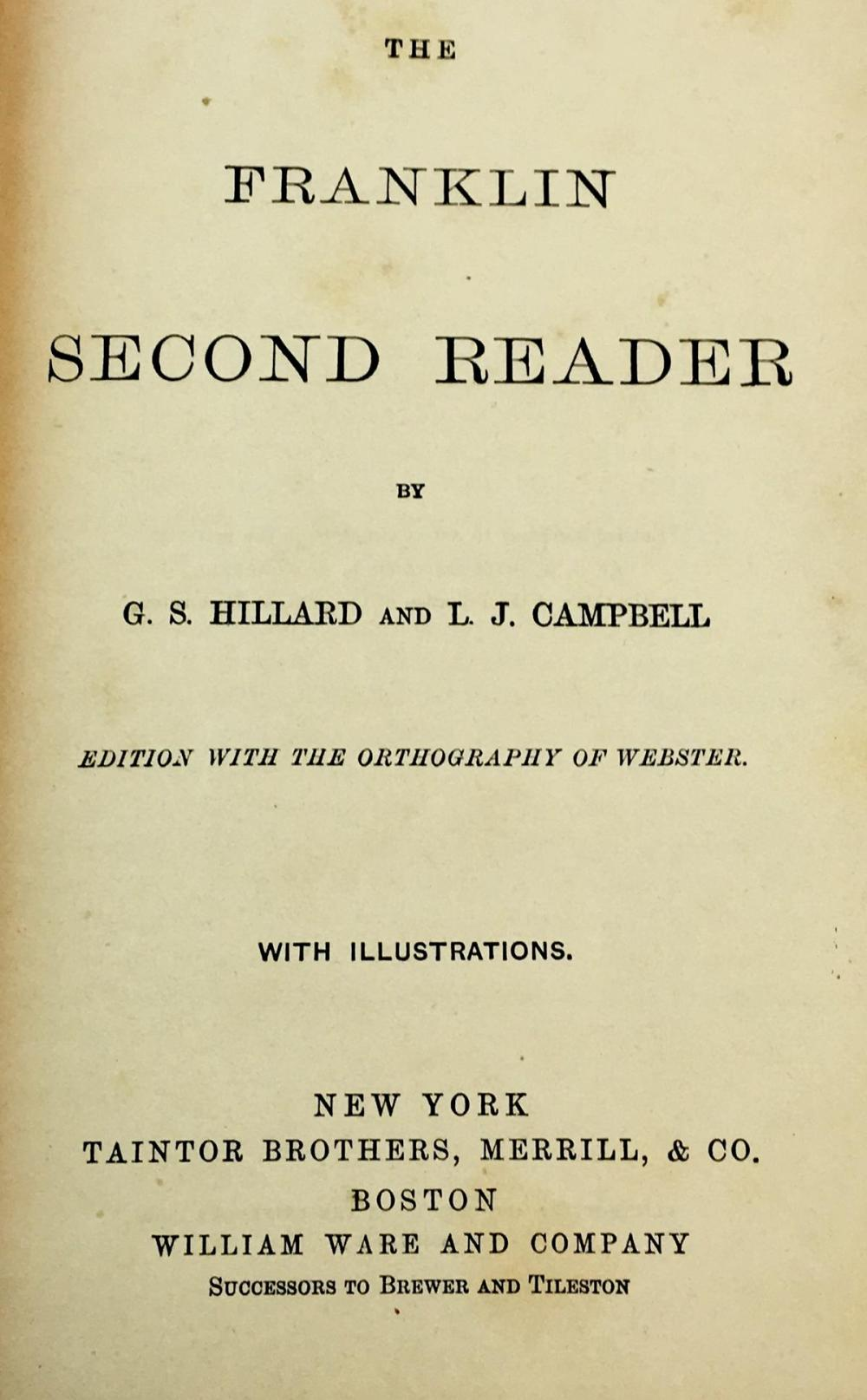 1873 The Franklin Second Reader by G.S. Hillard and L.J. Campbell FIRST EDITION