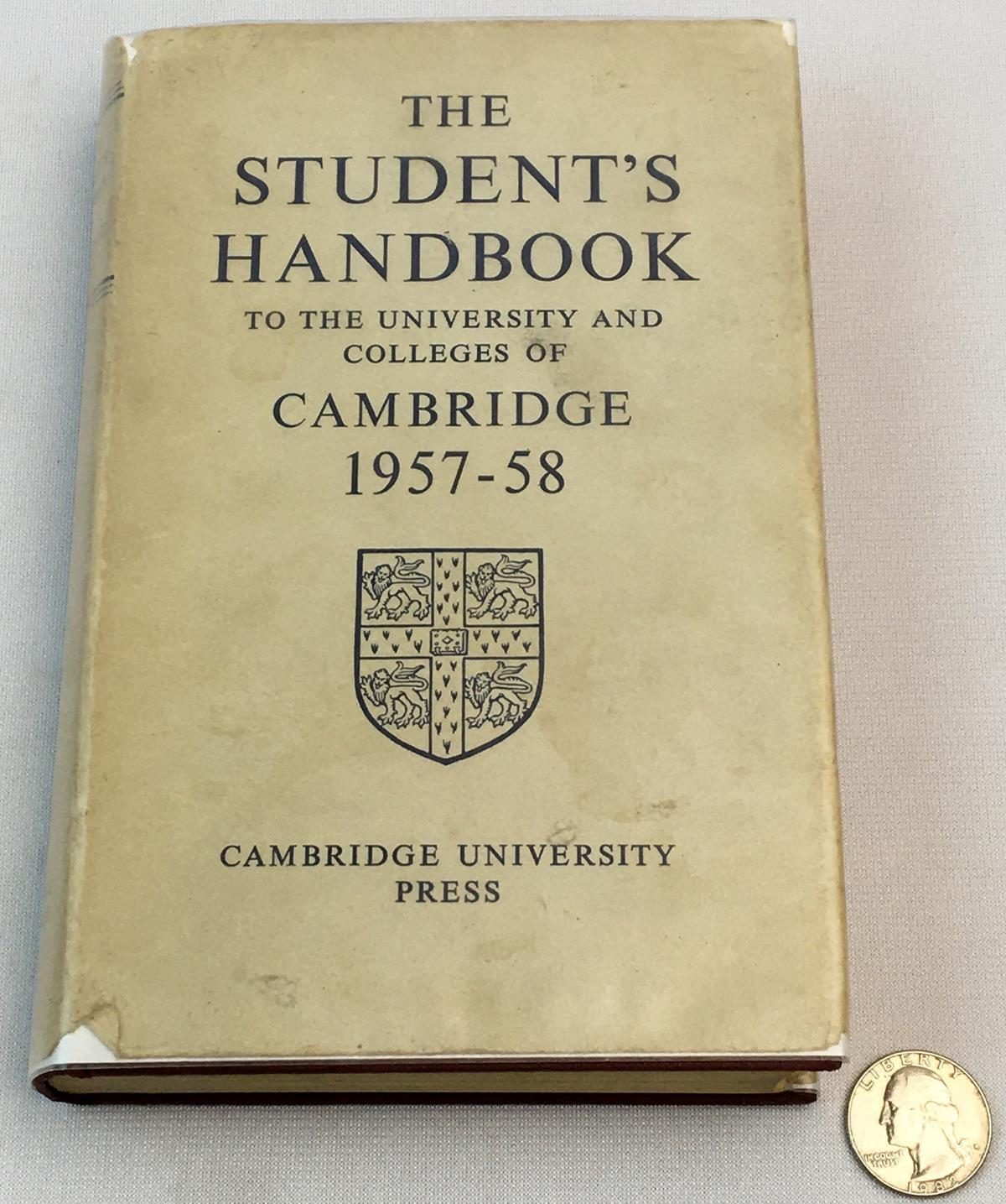 1957 The Student's Handbook To The University & Colleges of Cambridge 1957-58 w/ Dust Jacket