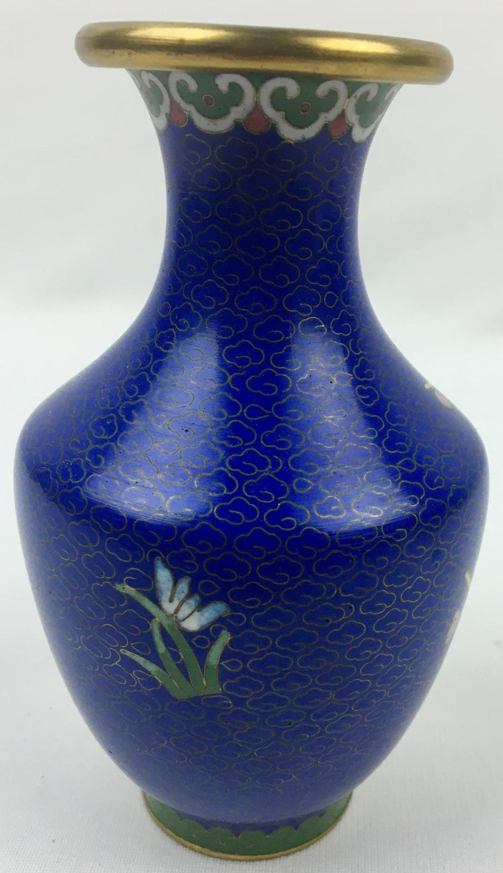 Vintage Chinese Blue Cloisonné Vase With Pink Flowers