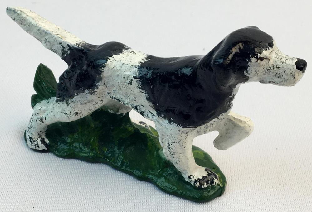 "Antique Irish Setter Pointer Dog Cast Iron Figurine 4.5"" long"