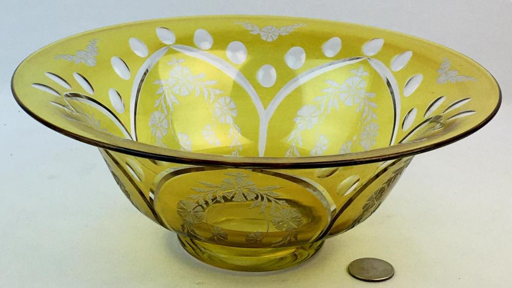 """Antique Yellow Cut To Clear Bohemian Large Footed Bowl w/ Beautiful Etching 10"""" Diameter"""