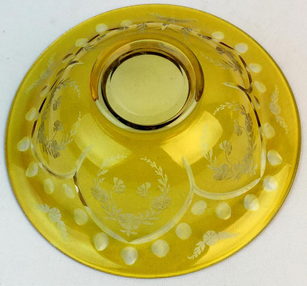Antique Yellow Cut To Clear Bohemian Large Footed Bowl w/ Beautiful Etching 10