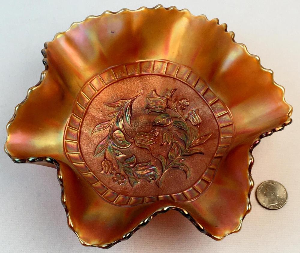 "Antique c. 1910 Dugan Carnival Glass Stippled ""Windflower"" Amethyst Ruffled Bowl"