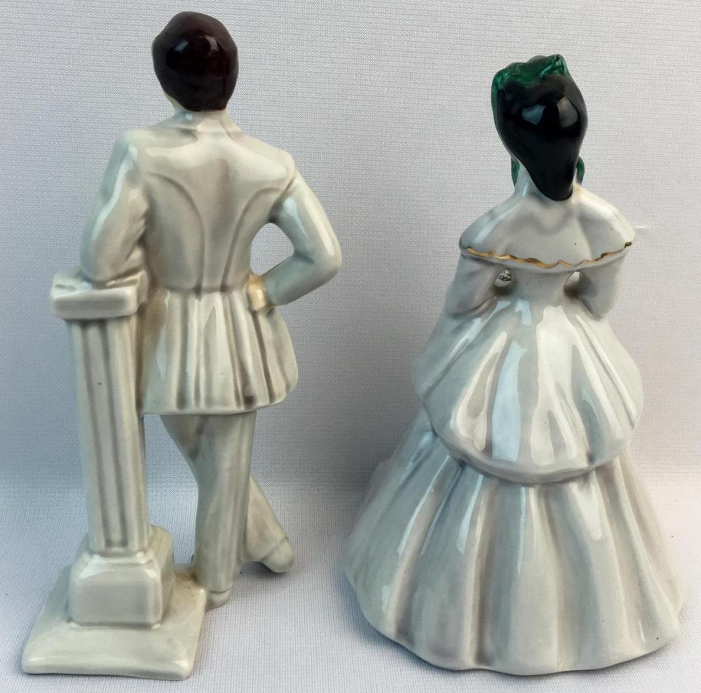 Vintage 1950's Florence Ceramics Jim and Elaine Gone With The Wind Porcelain Figurines