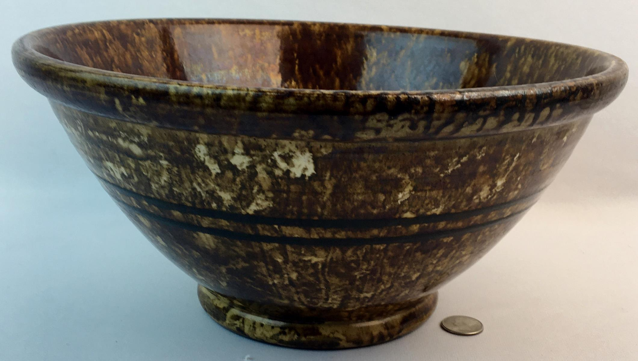 """Antique 1800's Bennington Pottery Rockingham Brown Glazed Yellow Ware Double Banded Bowl 12.75"""""""