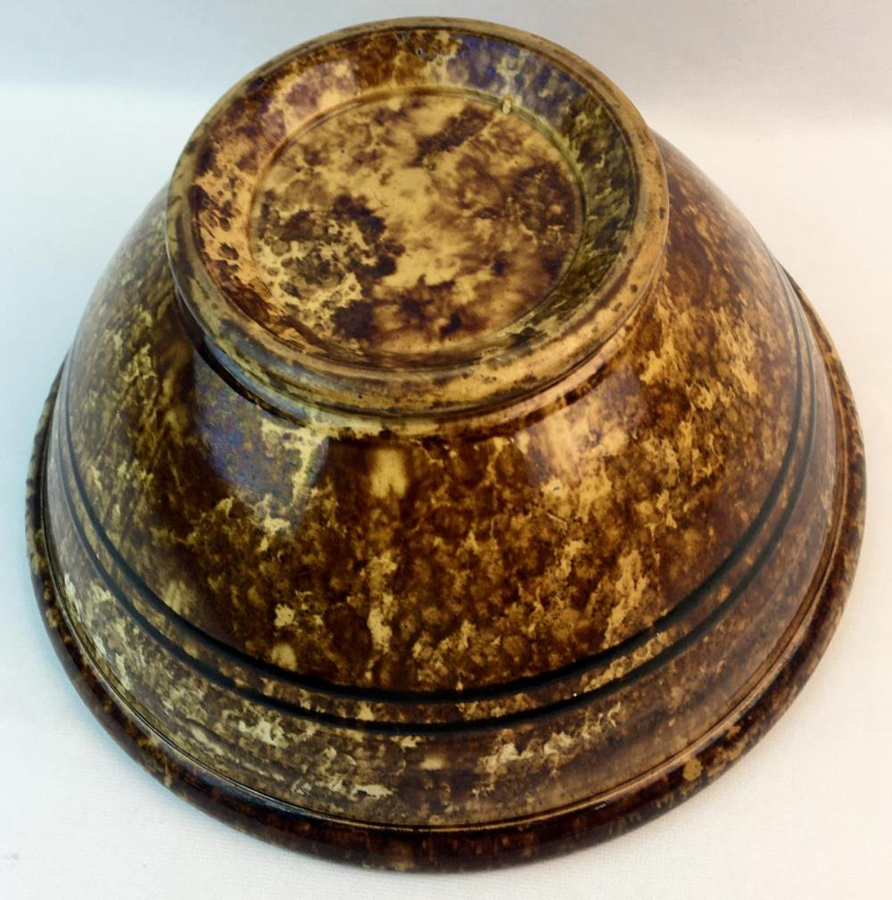 Antique 1800's Bennington Pottery Rockingham Brown Glazed Yellow Ware Double Banded Bowl 12.75