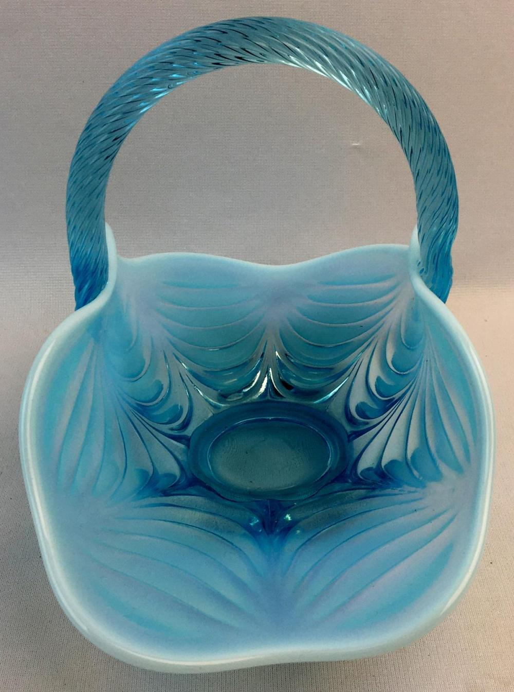 Vintage Mosser Glass Aqua Opalescent Drapery Pattern Handled Basket