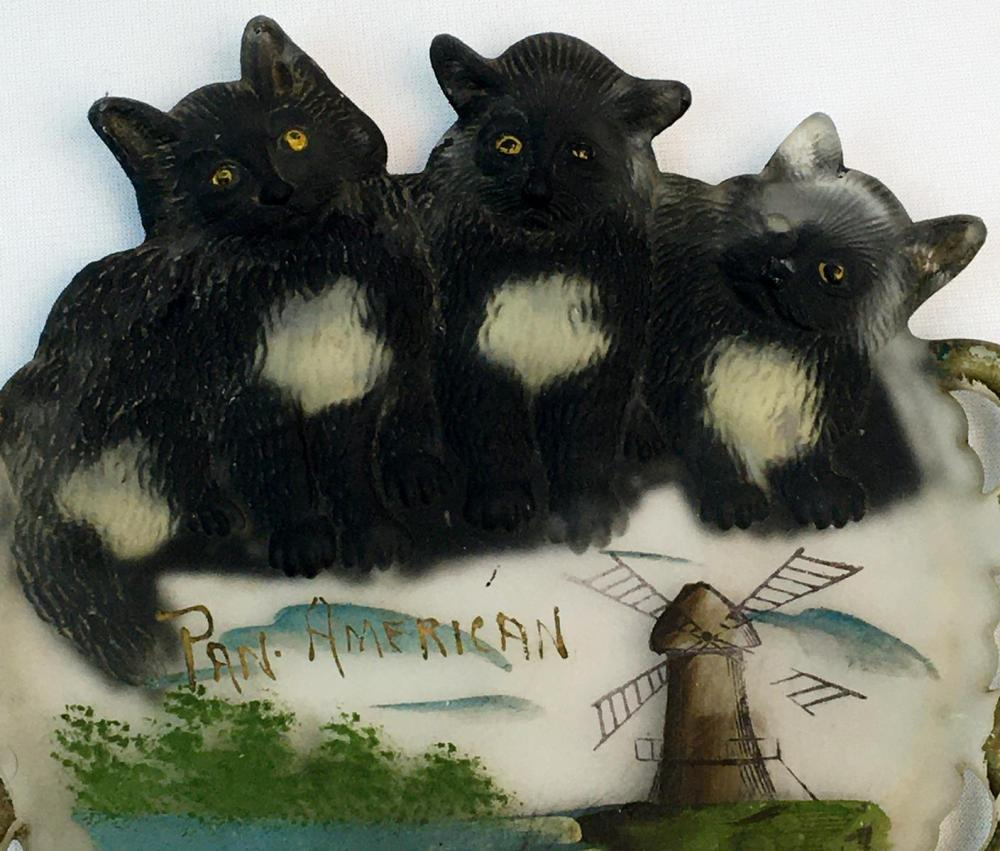 Antique 1901 Pan-American Expo Souvenir Hand Painted Three Kittens Camphor Glass Plate