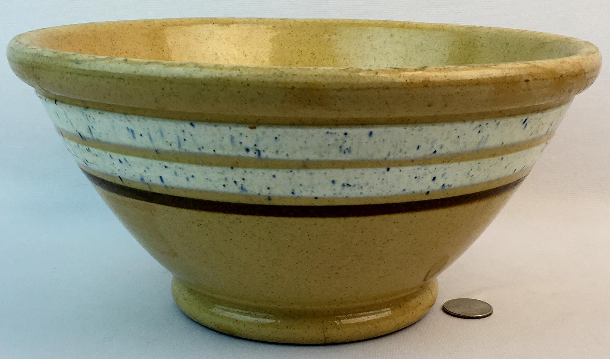 Antique 1800's Primitive Large 3 Brown and White with Blue Speckled Banded Yellowware Mixing Bowl