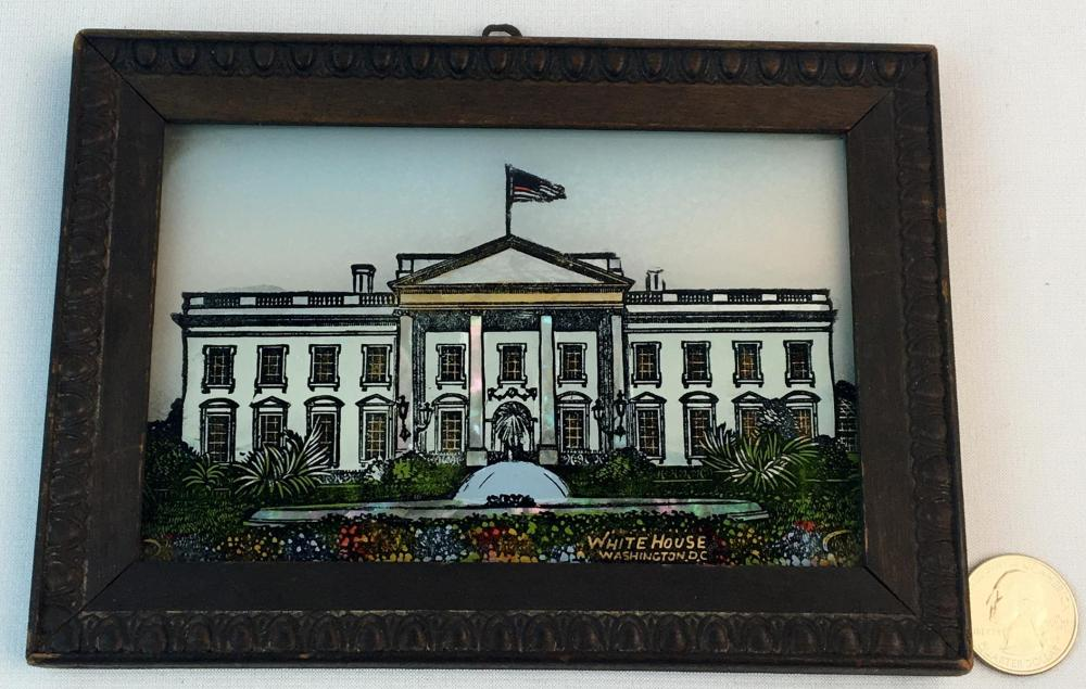Antique c. 1910 Reverse Painted White House Scene w/ Mother Of Pearl Accents Framed