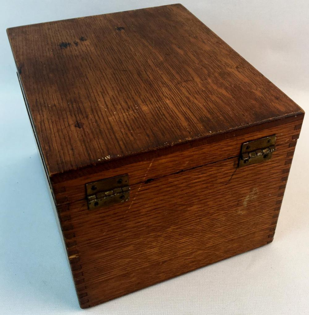 Antique c. 1920 Weis Oak Wood Card Catalog Box