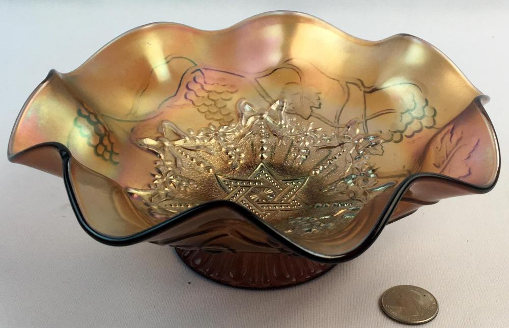 Antique Northwood Carnival Star of David With Bows Purple Amethyst Ruffle Edge Bowl