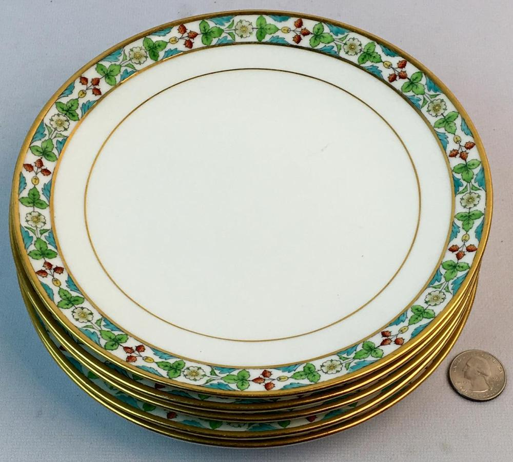 Antique c. 1890 Lot of 5 Mintons England Hand Painted Strawberry / Flower Gold Trimmed Plates