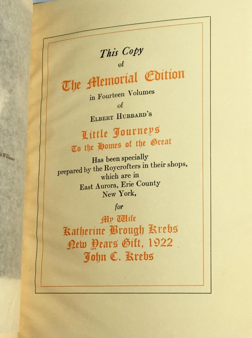 1922 Little Journey's Selected Writings of Elbert Hubbard Memorial Edition Complete 14 Volume Set