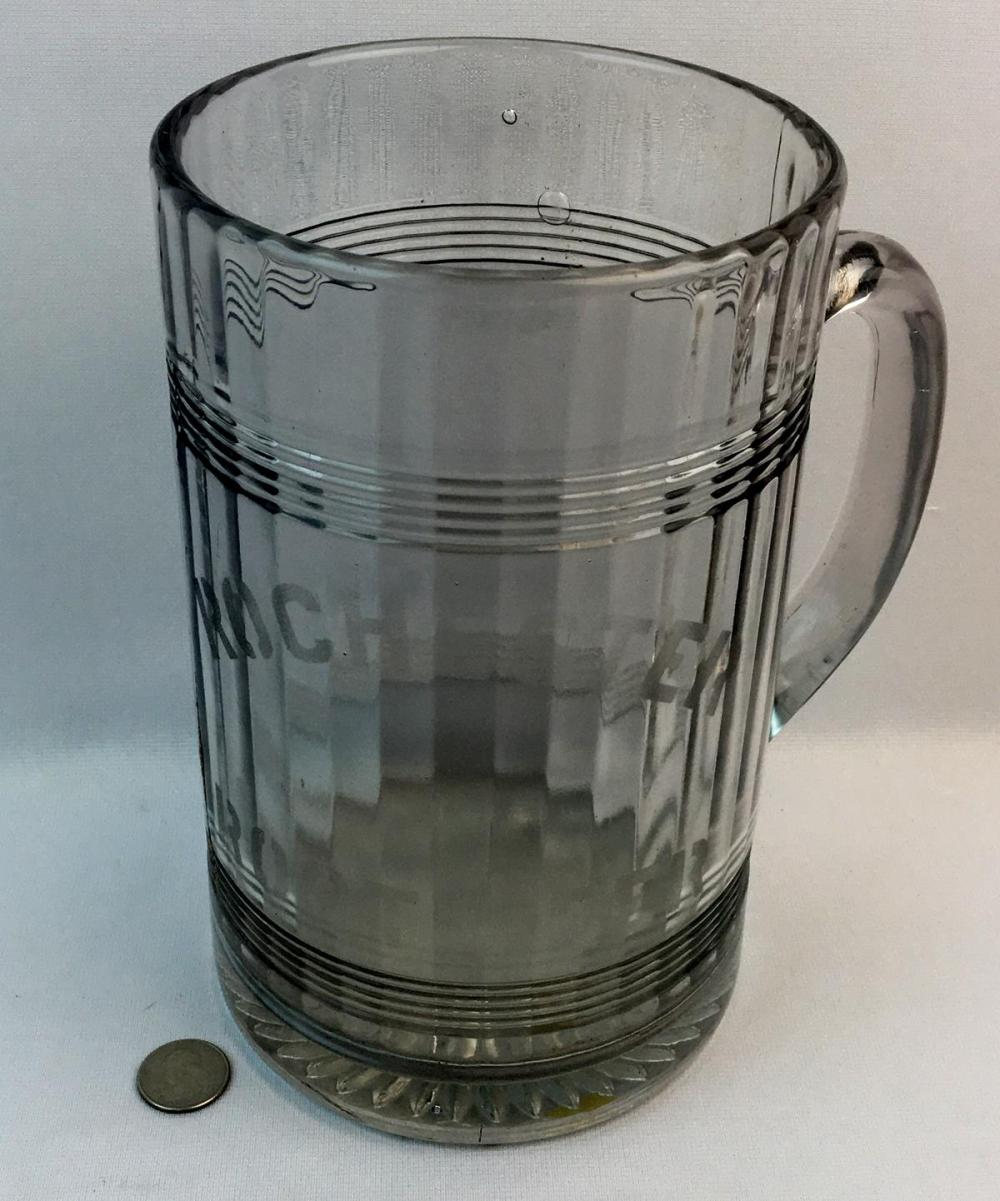 "Antique c. 1910 Rochester Root Beer Large Advertising Ribbed Soda Fountain Pitcher / Mug 9.5"" Tall"