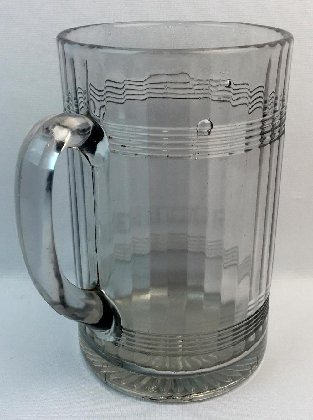Antique c. 1910 Rochester Root Beer Large Advertising Ribbed Soda Fountain Pitcher / Mug 9.5