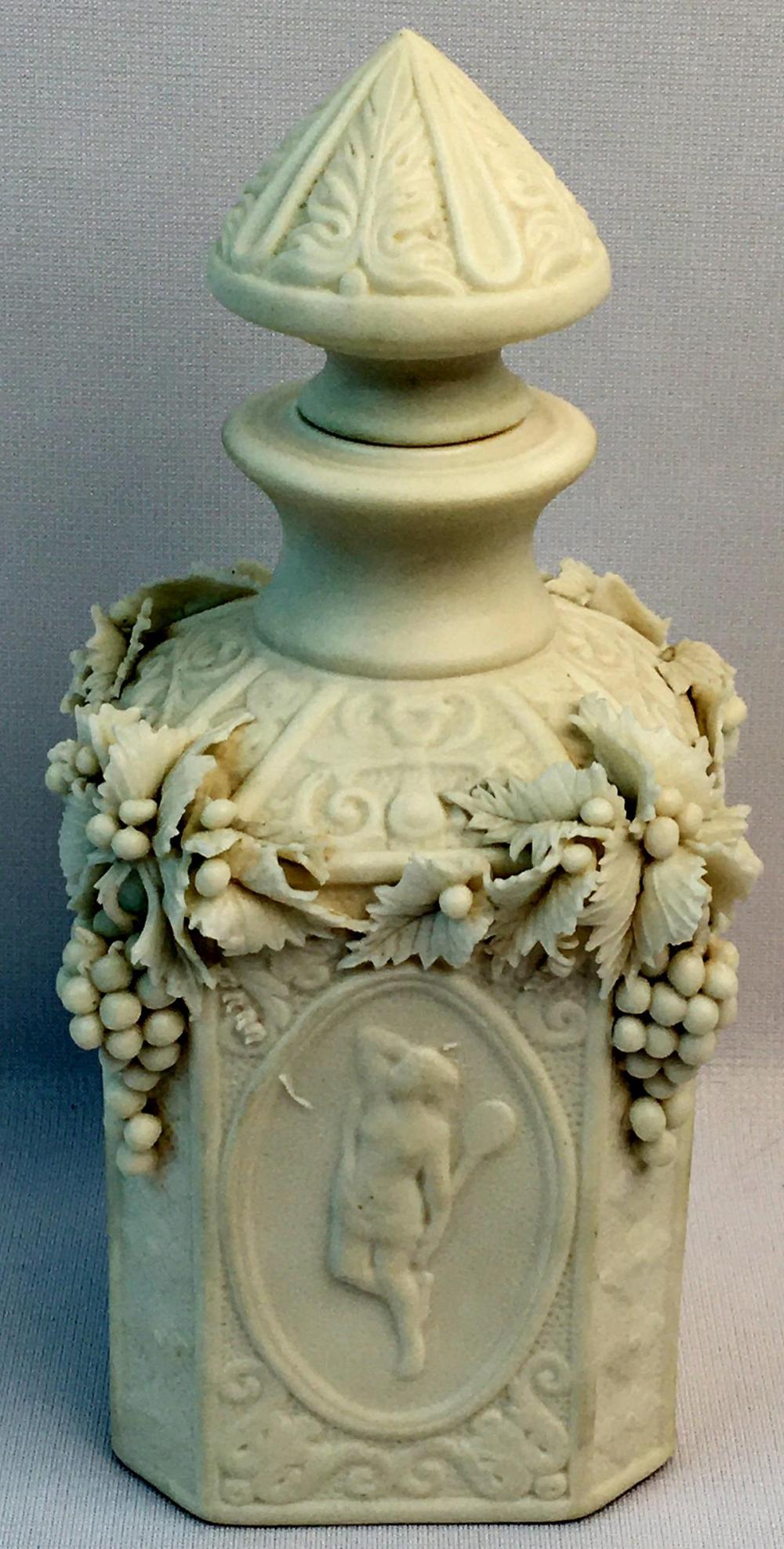 RARE Antique c. 1850 Bennington Parian Porcelain Cologne Bottle w/ Stopper