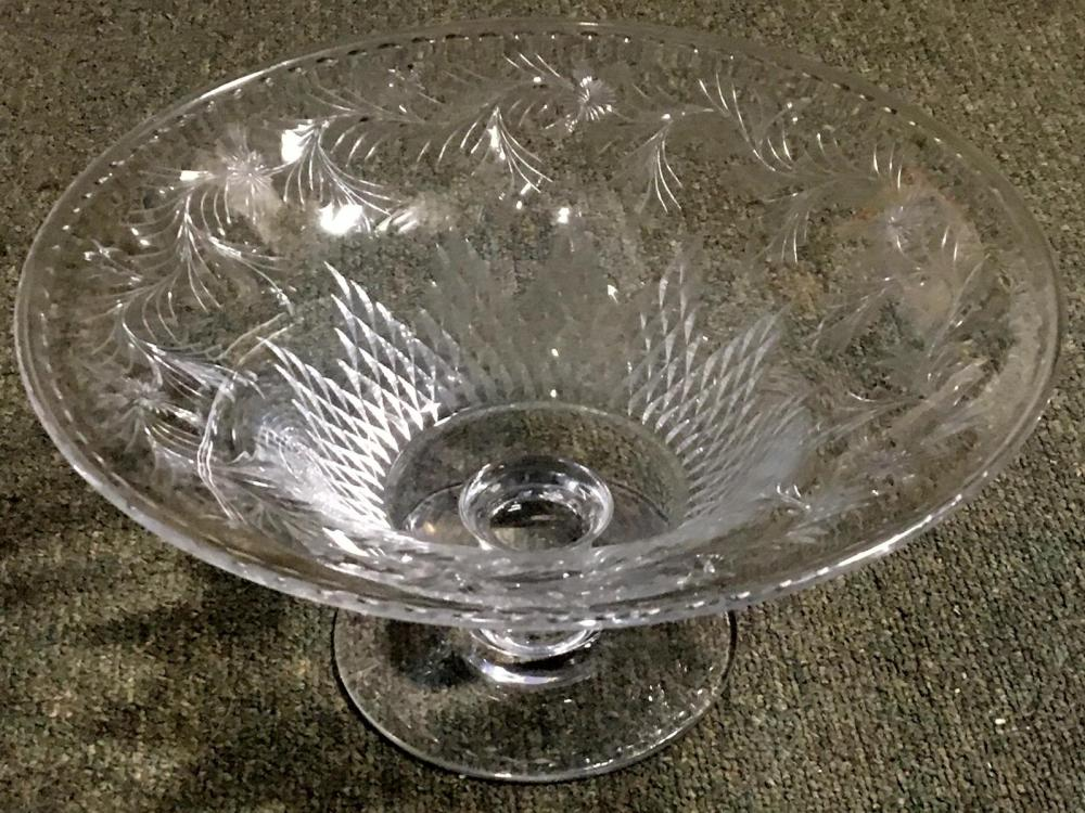 "Antique Hawkes Stunning Large Talisman Pattern Crystal 12"" Footed Centerpiece Bowl"