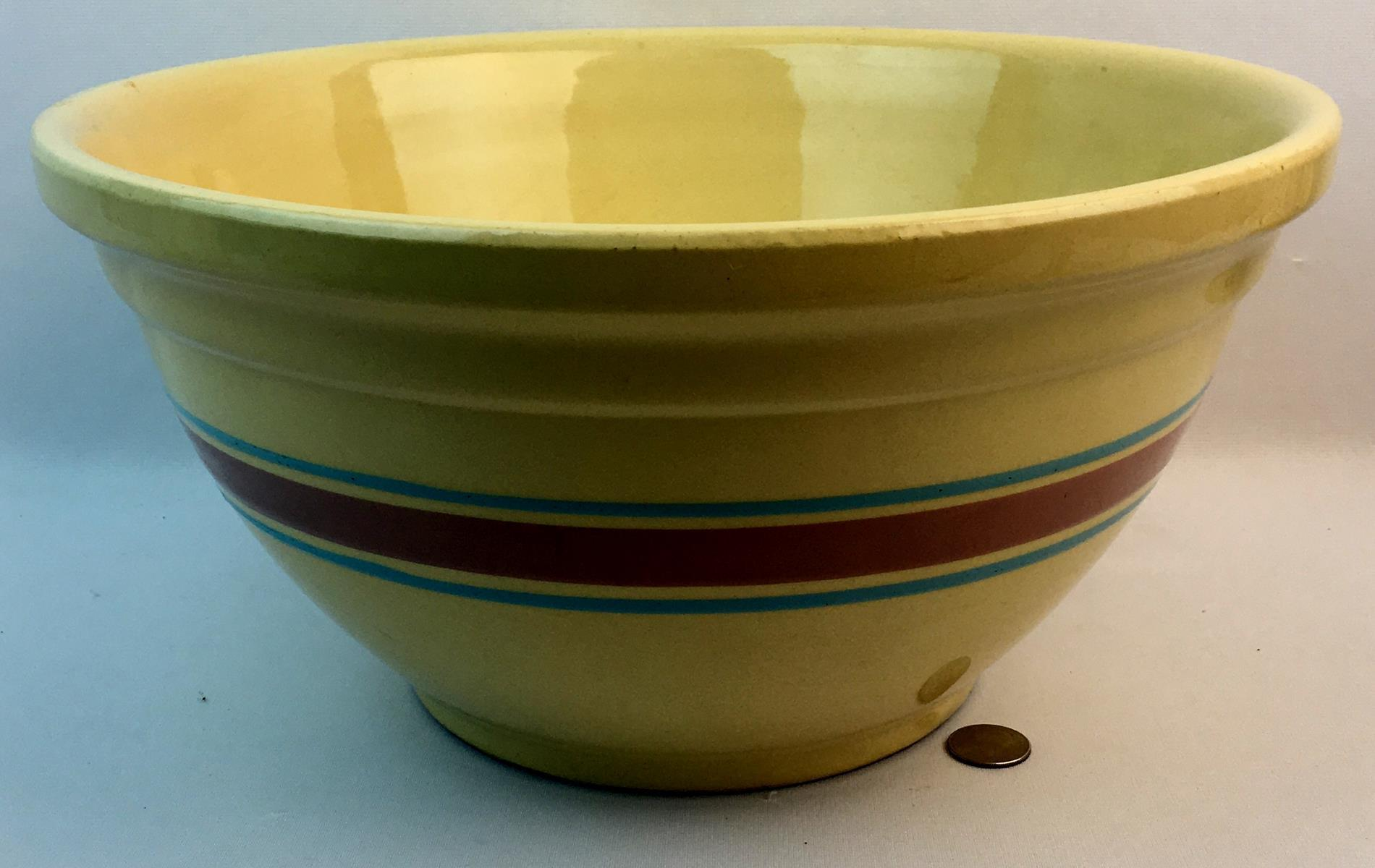 "Vintage Watt Oven Ware USA #14 Large 3 Banded Mixing Bowl 14.25"" Diameter"