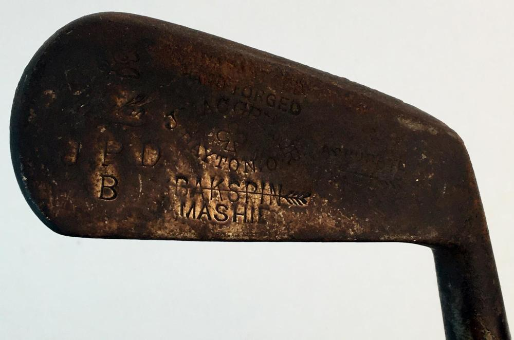 Antique c. 1910 J. MacGregor Backspin Mashie w/ Hickory Shaft and Leather Grip Golf Club