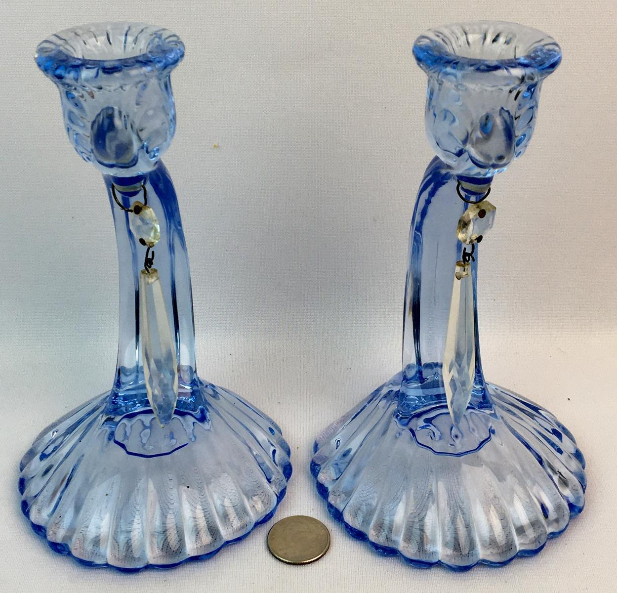 "Antique Cambridge Glass ""Caprice"" Blue Pair Shell Candlesticks w/ Prisms"