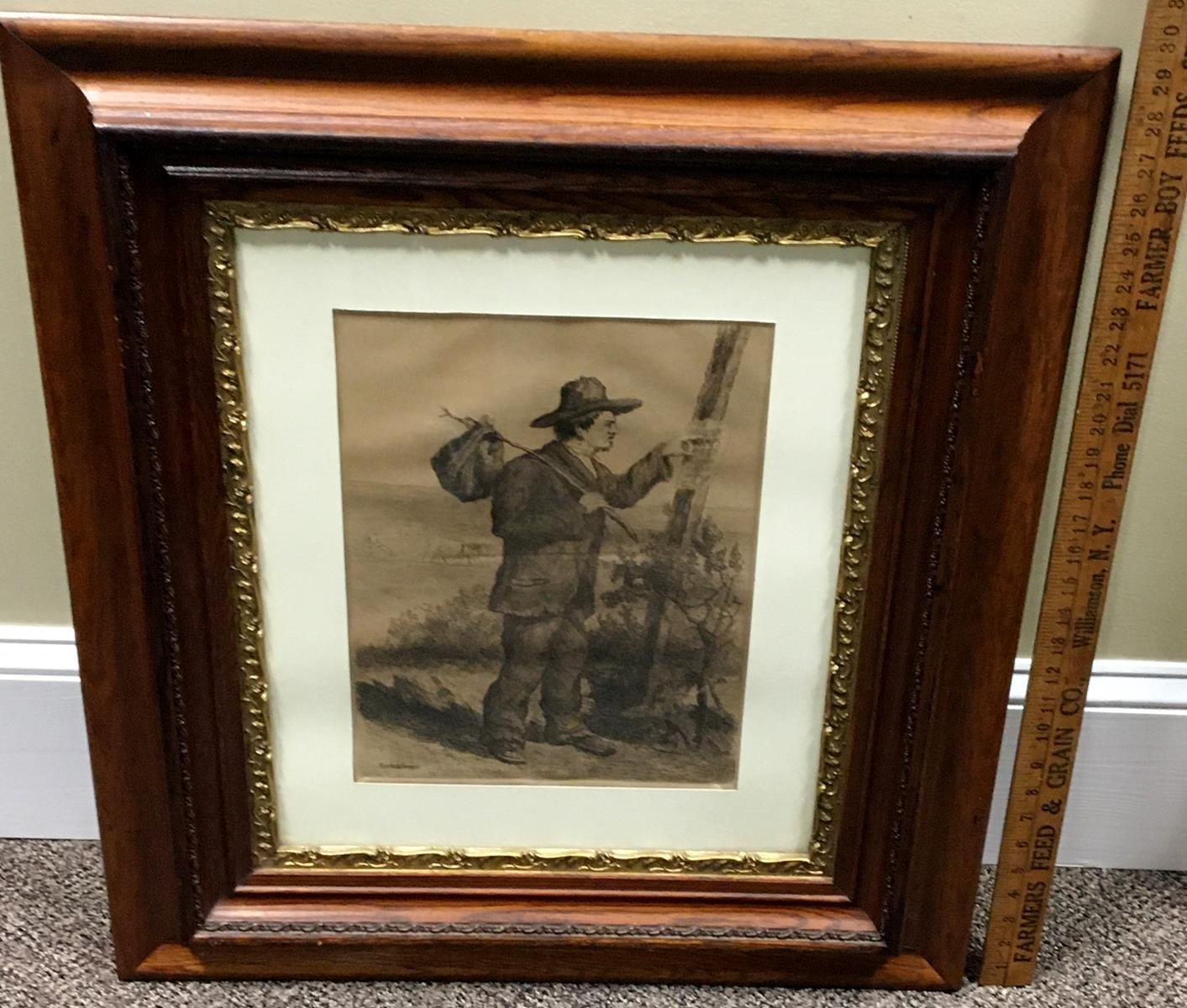 "Robert R. Wiseman (American, Late 19th Century) ""A Tramp"" c. 1880 Etching FRAMED"