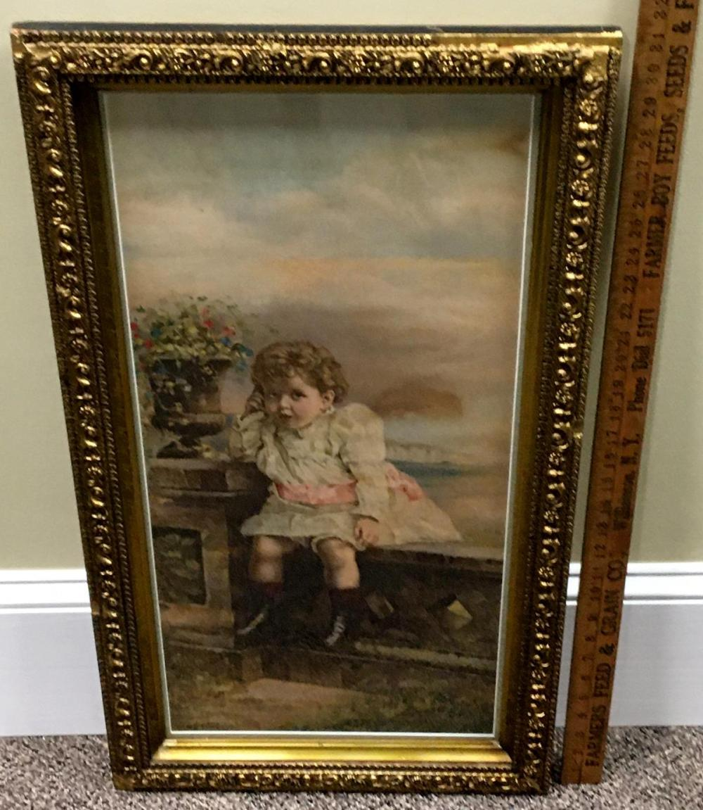 """Antique c. 1890 Toddler Girl """"Papa's Watch"""" Chromolithograph Advertising Print ORNATE FRAMED 32"""" Tall"""