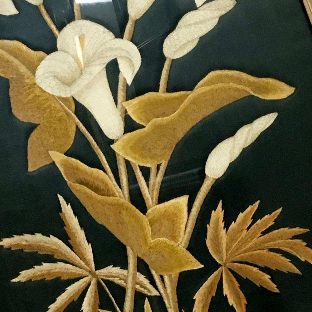 Antique Victorian Large Silk Calla Lily Embroidery