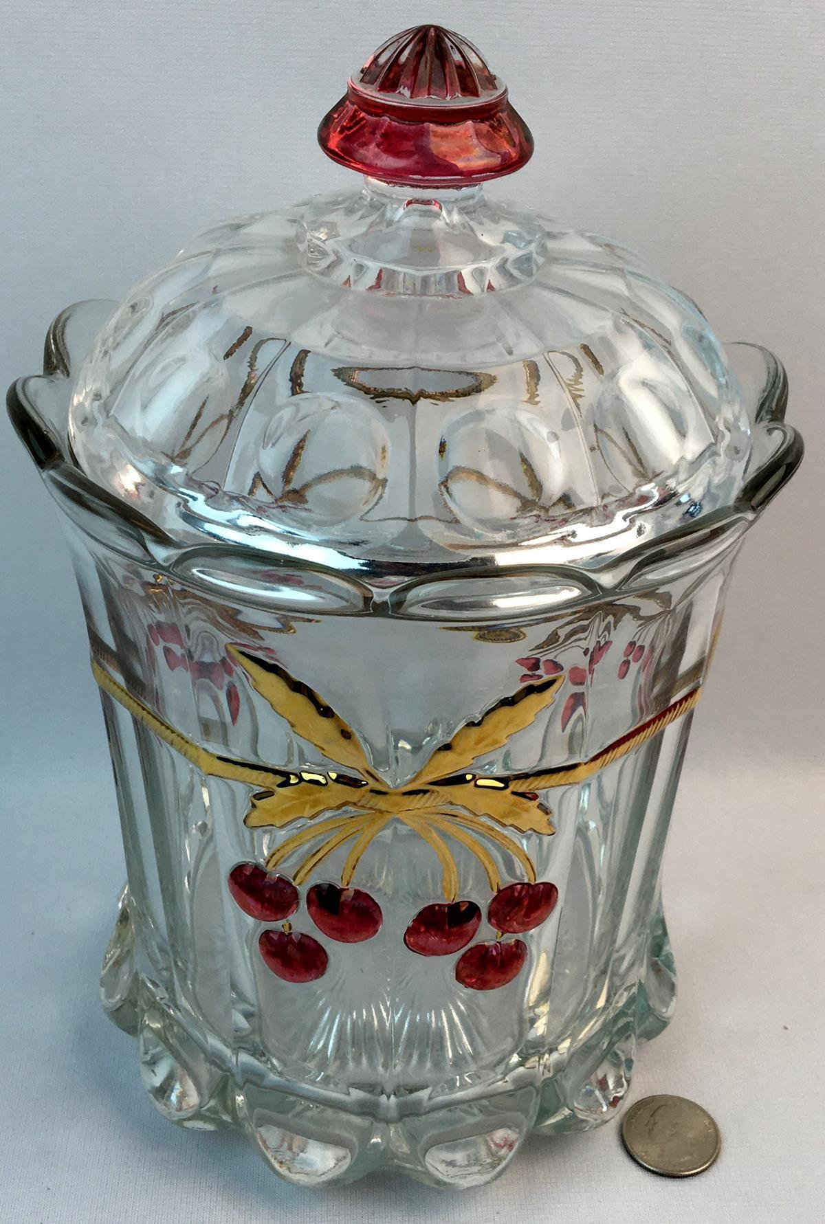 Vintage Mosser Cherry and Cable Thumbprint Pattern Tobacco Humidor / Cracker Jar With Lid