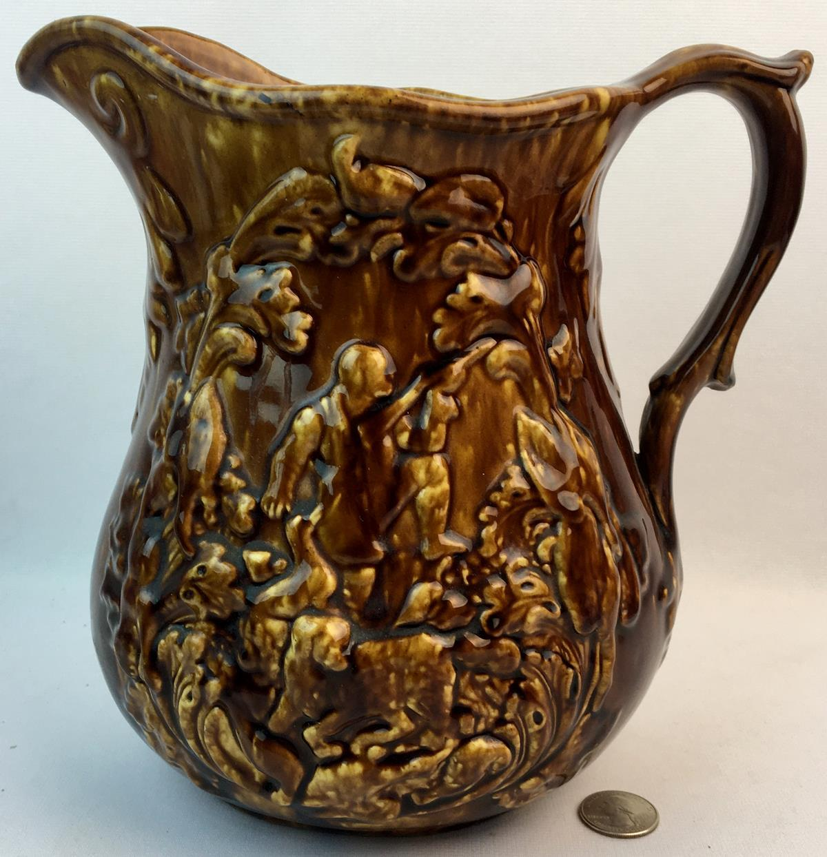 "Antique Bennington Rockingham Drip Glazed Pitcher w/ Ethan Allen Hunt Scene 9.25"" Tall"